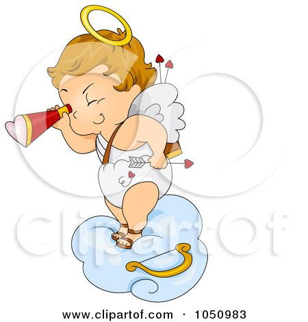Royalty-Free Vector Clip Art Illustration of a Valentine Cupid Viewing On A Cloud by BNP Design Studio