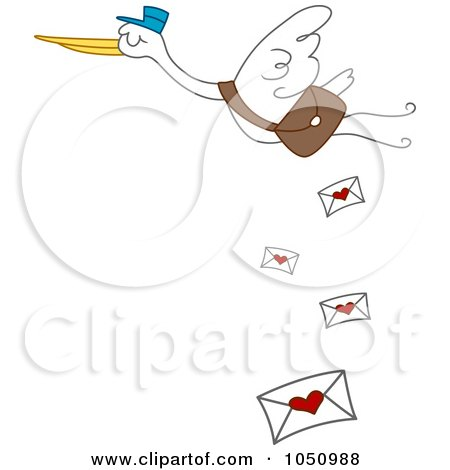 Stork Dropping Love Letters Posters, Art Prints