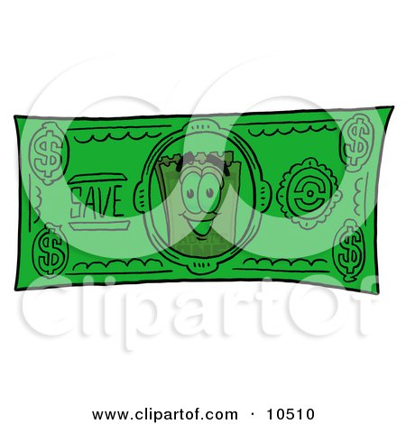Clipart Picture of a Yellow Admission Ticket Mascot Cartoon Character on a Dollar Bill by Toons4Biz