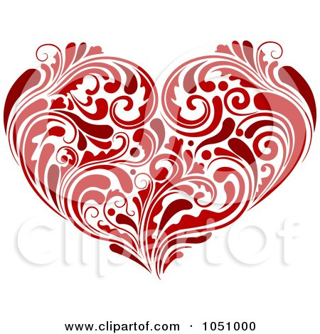 Royalty-Free Vector Clip Art Illustration of a Red Heart Made Of Lush Flourishes by BNP Design Studio