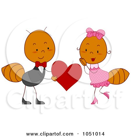 Royalty-Free Vector Clip Art Illustration of a Valentine Ant Couple by BNP Design Studio