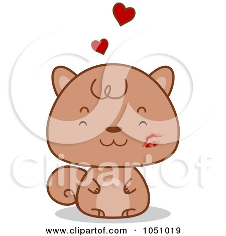 Royalty-Free Vector Clip Art Illustration of a Valentine Squirrel With A Lipstick Kiss by BNP Design Studio
