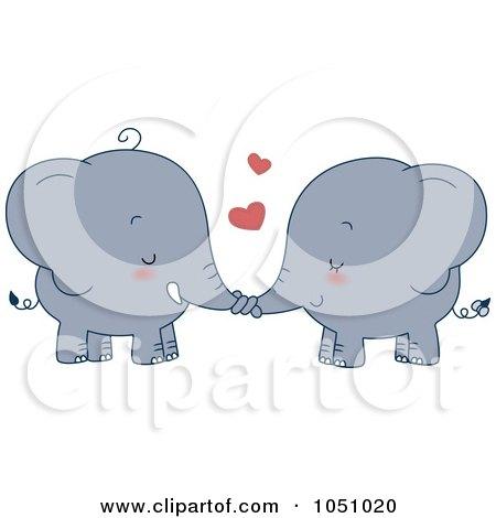 Royalty-Free Vector Clip Art Illustration of a Valentine Elephant Couple Holding Trunks by BNP Design Studio