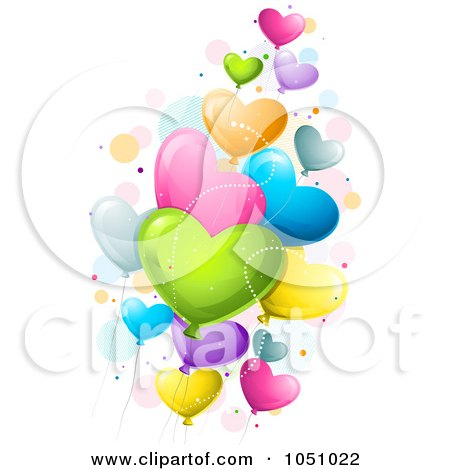 Royalty-Free Vector Clip Art Illustration of Colorful Heart Valentine Balloons by BNP Design Studio