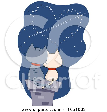 Royalty-Free Vector Clip Art Illustration of a Valentine Cat Couple Viewing A Heart In A Night Sky by BNP Design Studio