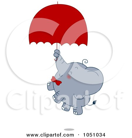 Royalty-Free Vector Clip Art Illustration of a Valentine Elephant Floating With An Umbrella by BNP Design Studio