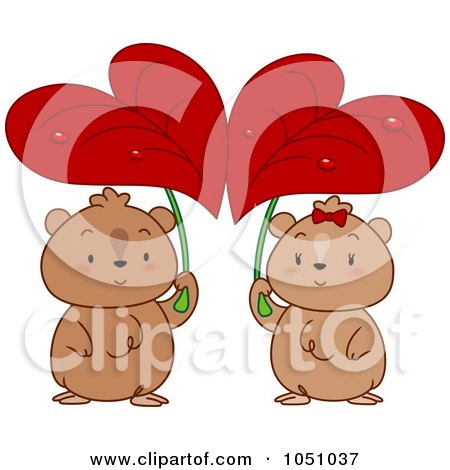 Royalty-Free Vector Clip Art Illustration of a Hamster Couple Seeking Shelter Under Heart Leaves by BNP Design Studio