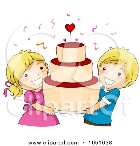Royalty-Free Vector Clip Art Illustration of Kids Carrying A Big Valentine Cake by BNP Design Studio