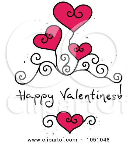 Royalty-Free Vector Clip Art Illustration of Happy Valentines With Swirls And Hearts by BNP Design Studio