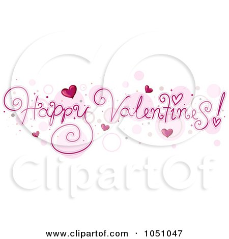 Royalty-Free Vector Clip Art Illustration of Happy Valentines Text Over Bubbles by BNP Design Studio