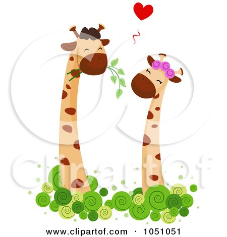 Royalty-free clipart picture of a giraffe couple - 5, on a white background.