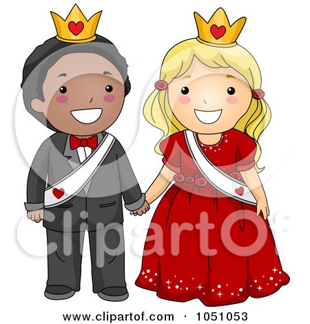 Royalty-Free Vector Clip Art Illustration of a Valentine Kid Couple Wearing Sashes And Crowns by BNP Design Studio