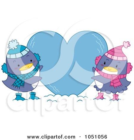 Royalty-Free Vector Clip Art Illustration of Valentine Penguins Making An Ice Heart by BNP Design Studio