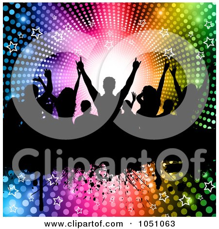 Royalty-Free Vector Clip Art Illustration of a Silhouetted Crowd Of Fans On A Grunge Bar Over A Halftone Starry Rainbow Vortex by KJ Pargeter