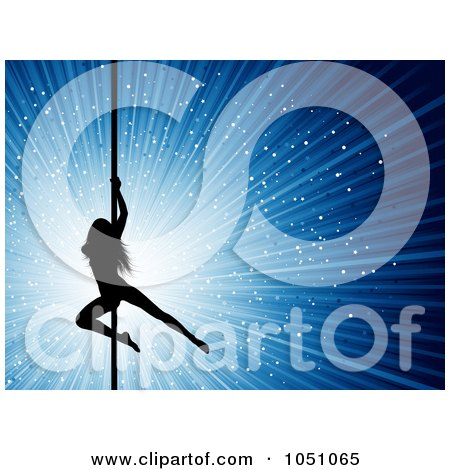 Royalty-Free Vector Clip Art Illustration of a Sexy Silhouetted Pole Dancer Over A Blue Sparkly Burst by KJ Pargeter