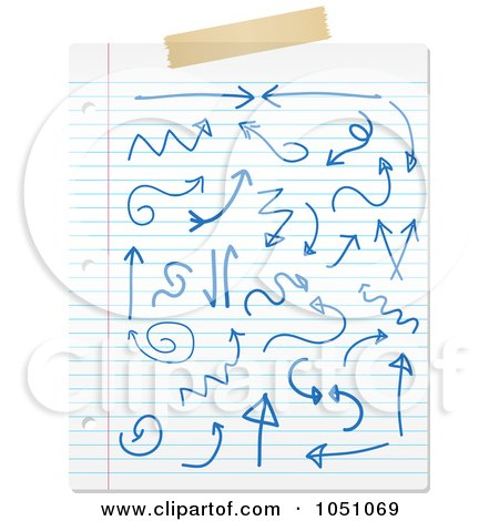 Royalty-Free Vector Clip Art Illustration of a Sheet Of Ruled Paper With Blue Ink Doodles And Tape by KJ Pargeter