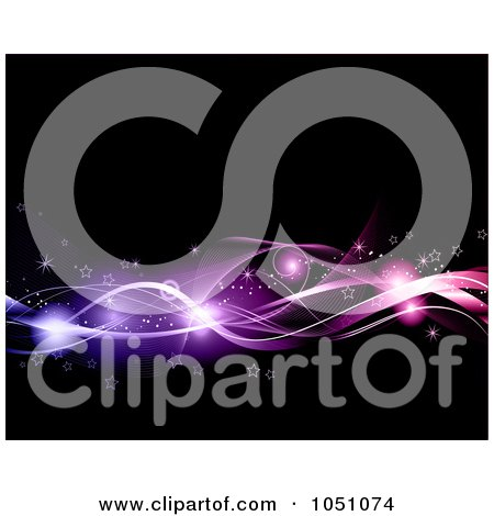 Background Of Glowing Orbs, Stars And Pinka Nd Purple Waves On Black Posters, Art Prints
