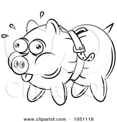 Royalty-free clipart picture of a coloring page outline of a piggy bank