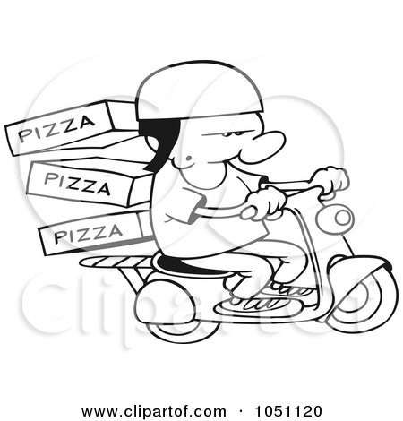 Royalty-Free Vector Clip Art Illustration of a Coloring Page Outline Of A Pizza Delivery Boy On A Scooter by gnurf