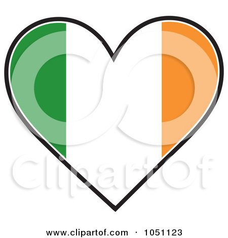 Royalty-Free Vector Clip Art Illustration of a Heart With Irish Flag Stripes by Maria Bell