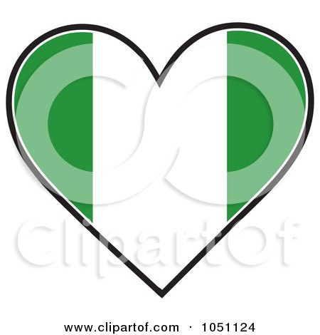 Royalty-Free Vector Clip Art Illustration of a Heart With Nigerian Flag Stripes by Maria Bell