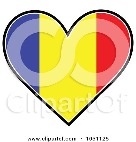 Royalty-Free Vector Clip Art Illustration of a Heart With Romanian Flag Stripes by Maria Bell