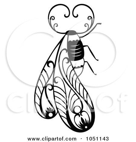Royalty-Free Vector Clip Art Illustration of a Decorative Bug Design by Cherie Reve