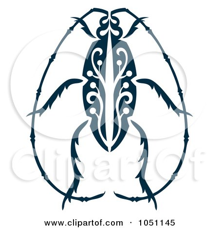 Royalty-Free Vector Clip Art Illustration of a Decorative Beetle Design by Cherie Reve