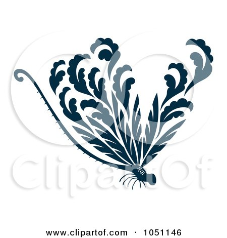 Royalty-Free Vector Clip Art Illustration of a Decorative Dark Blue Dragonfly by Cherie Reve