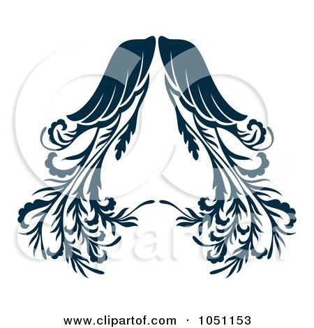 Royalty-Free Vector Clip Art Illustration of Ornate Dark Blue Angel Wings by Cherie Reve