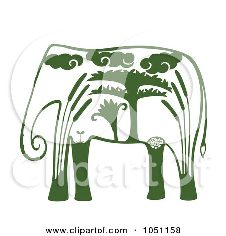 Royalty-Free Vector Clip Art Illustration of a Decorative Green Elephant by Cherie Reve
