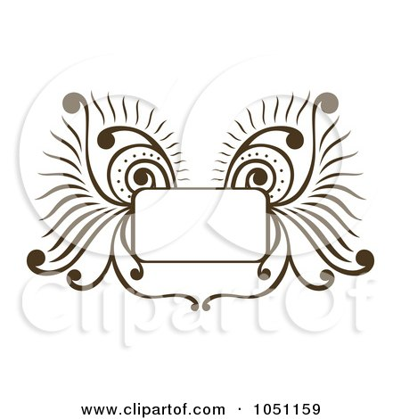 Royalty-Free Vector Clip Art Illustration of a Decorative Brown Wing Frame by Cherie Reve