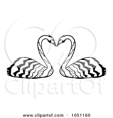 Royalty-Free Vector Clip Art Illustration of a Decorative Swan Pair by Cherie Reve