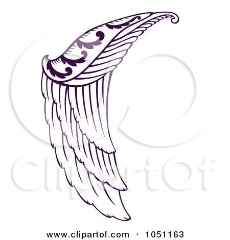 Royalty-Free Vector Clip Art Illustration of a Purple Angel Wing by Cherie Reve