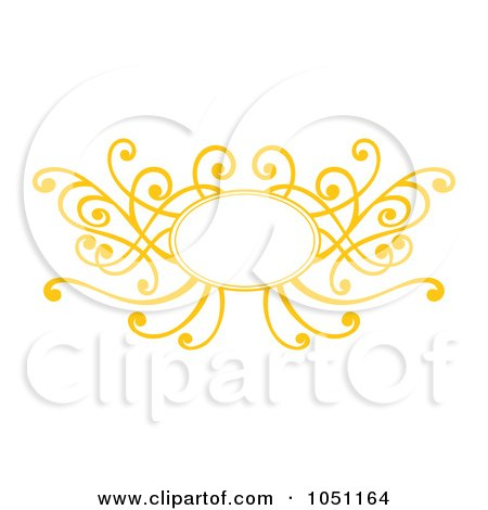 Royalty-Free Vector Clip Art Illustration of a Decorative Yellow Swirl Frame by Cherie Reve