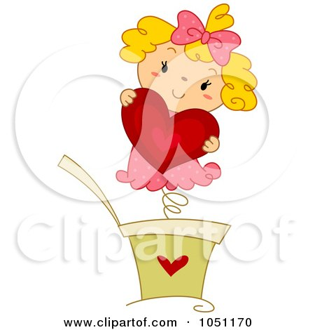 Royalty-Free Vector Clip Art Illustration of a Jack In The Box Girl Holding A Heart by BNP Design Studio