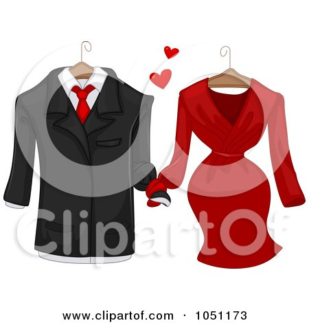 Royalty-Free Vector Clip Art Illustration of a Man's Jacket Holding Hands With A Woman's Dress by BNP Design Studio
