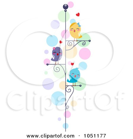 Royalty-Free Vector Clip Art Illustration of Love Birds On Perches Over Colorful Bubbles by BNP Design Studio