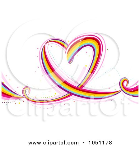 Royalty-Free Vector Clip Art Illustration of a Flowing Rainbow Heart by BNP Design Studio