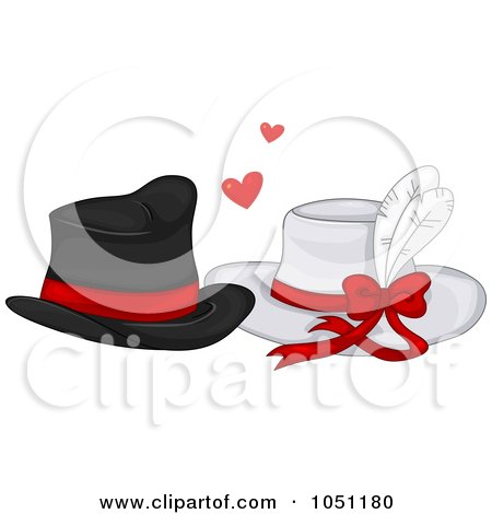 Royalty-Free Vector Clip Art Illustration of His And Hers Hats In Love by BNP Design Studio