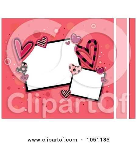 Royalty-Free Vector Clip Art Illustration of Retro Styled Frames Bordered In Valentine Hearts On Pink by BNP Design Studio