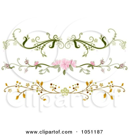 Royalty-Free Vector Clip Art Illustration of a Digital Collage Of Three Ornate Floral Rule Dividers by BNP Design Studio