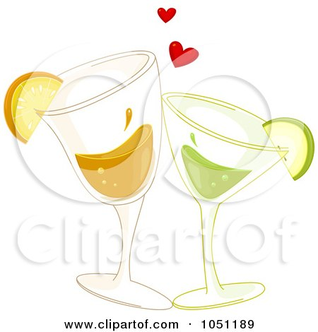 Royalty-Free Vector Clip Art Illustration of Citrus Cocktails Toasting Under Hearts by BNP Design Studio