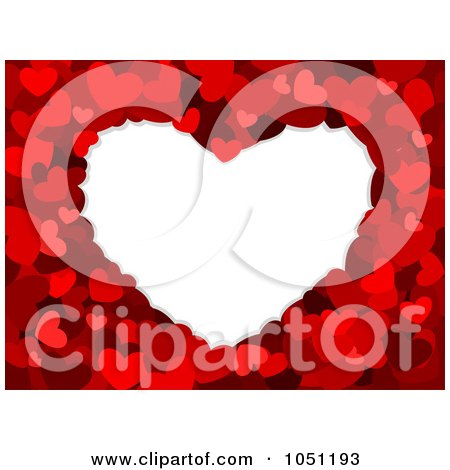 Royalty-Free Vector Clip Art Illustration of a White Heart Framed In Red Hearts by BNP Design Studio
