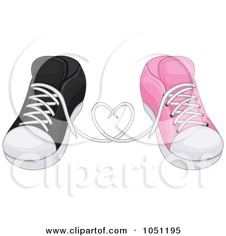 Royalty-Free Vector Clip Art Illustration of His And Hers Sneakers In Love by BNP Design Studio