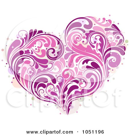 Royalty-Free Vector Clip Art Illustration of a Purple And Pink Vine Heart by BNP Design Studio