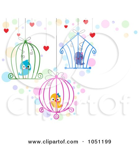 Royalty-Free Vector Clip Art Illustration of Hanging Cages With Love Birds by BNP Design Studio