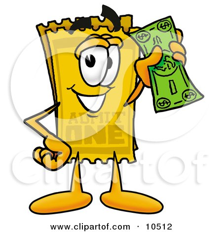 Clipart Picture of a Yellow Admission Ticket Mascot Cartoon Character Holding a Dollar Bill by Toons4Biz