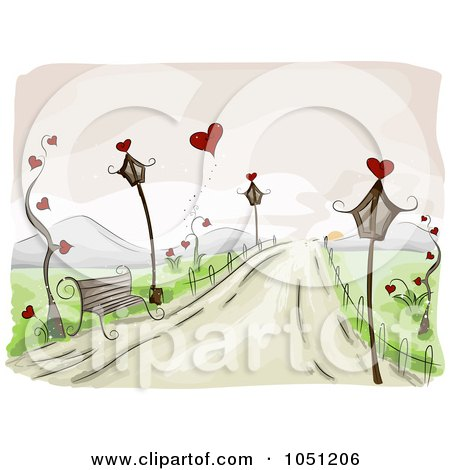 Royalty-Free Vector Clip Art Illustration of a Romantic Scene Of A Bench And Lamp Posts On A Roadside by BNP Design Studio