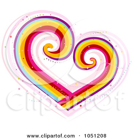Royalty-Free Vector Clip Art Illustration of a Rainbow Heart With Swirls by BNP Design Studio